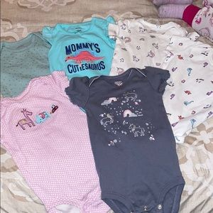Bundle of 6 Babygirl bodysuits in various patterns